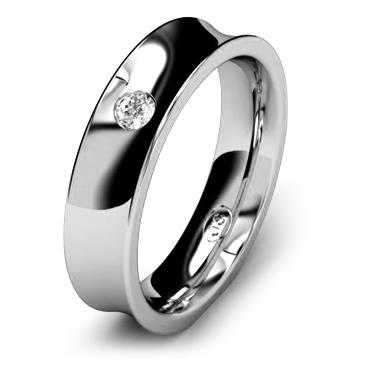Кольцо обручальное с бриллиантом шириной 5 мм из белого золота W855WD251