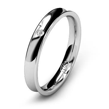 Кольцо обручальное вогнутое с бриллиантом шириной 3 мм из белого золота W835WD141