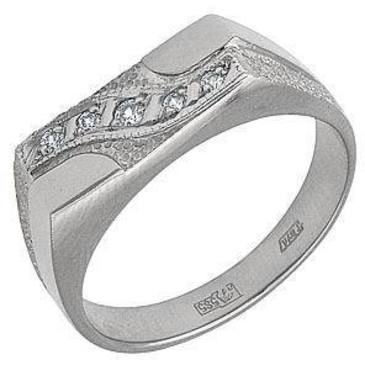 кольцо-печатка мужское c бриллиантами из белого золота 1303020