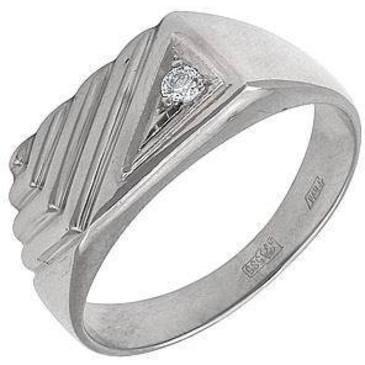 кольцо-печатка мужское c бриллиантом из белого золота 1303017