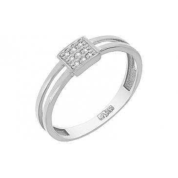 Кольцо с 9 бриллиантами из белого золота 113475