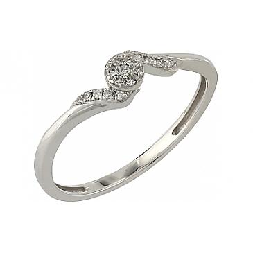 Кольцо с бриллиантами из белого золота 104941