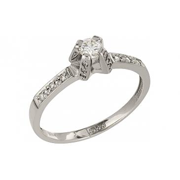 Кольцо с бриллиантами из белого золота 110315