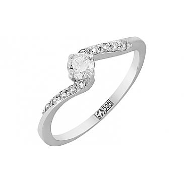 Кольцо с бриллиантами из белого золота 116395