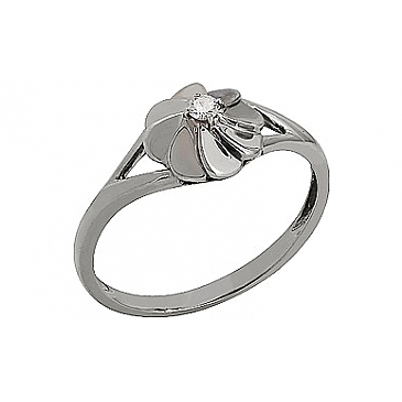 Кольцо с бриллиантами из белого золота 75406