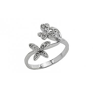 Кольцо с бриллиантами из белого золота 81934