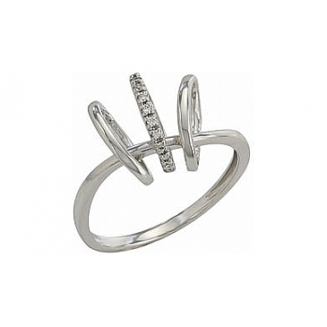 Кольцо с бриллиантами из белого золота 82275