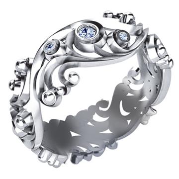 Кольцо с бриллиантами НАСТРОЕНИЕ из белого золота К-42011