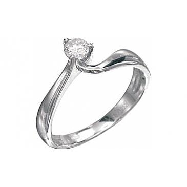 Кольцо с бриллиантом из белого золота 75309