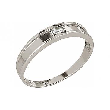 Кольцо с бриллиантом из белого золота 105724
