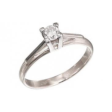 Кольцо с бриллиантом из белого золота 109148