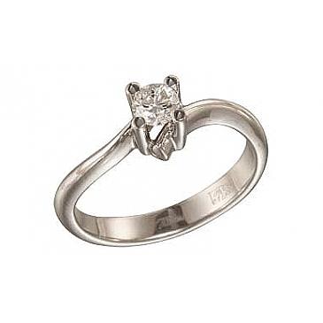 Кольцо с бриллиантом из белого золота 109101
