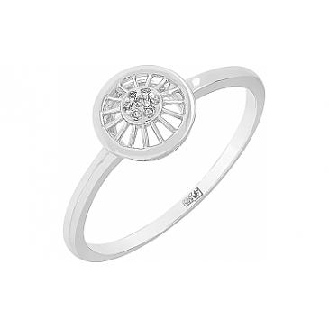 Кольцо с бриллиантом из белого золота 113783