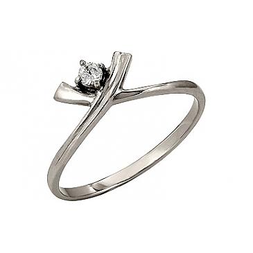 Кольцо с бриллиантом из белого золота 113197