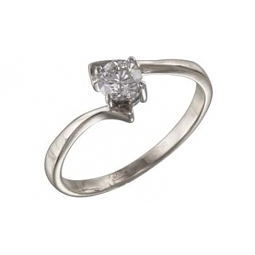 Кольцо с бриллиантом из белого золота 114186