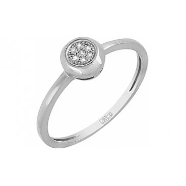 Кольцо с бриллиантом из белого золота 113873