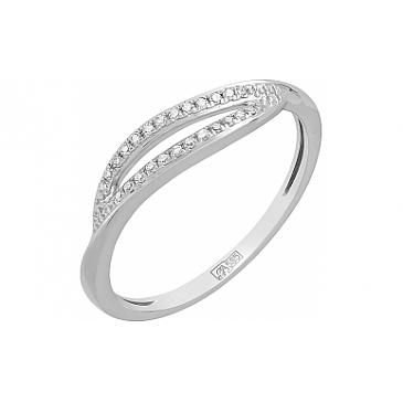 Кольцо с бриллиантом из белого золота 115308