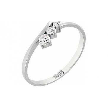 Кольцо с бриллиантом из белого золота 115578