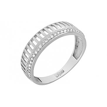 Кольцо с бриллиантом из белого золота 119029