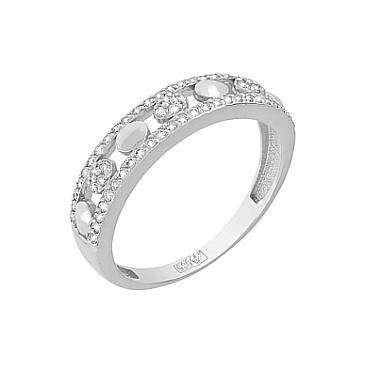 Кольцо с бриллиантом из белого золота 119049