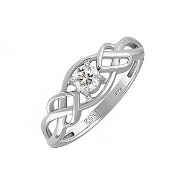 Кольцо с бриллиантом из белого золота 129463