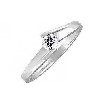 Кольцо с бриллиантом из белого золота 110058