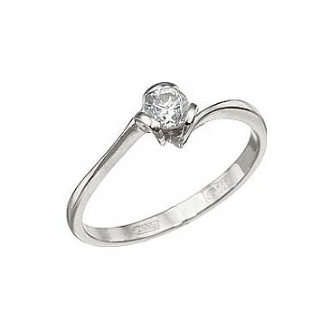 Кольцо с бриллиантом из белого золота 7900