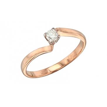 Кольцо с бриллиантом из белого золота 36412