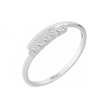 Кольцо с бриллиантом из белого золота 75598