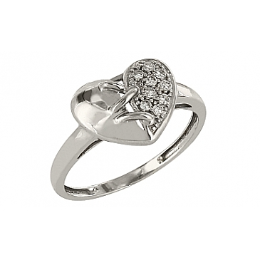 Кольцо с бриллиантом из белого золота 83655