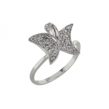 Кольцо с бриллиантом из белого золота 83652