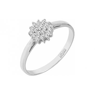 Кольцо с бриллиантом из белого золота 76132