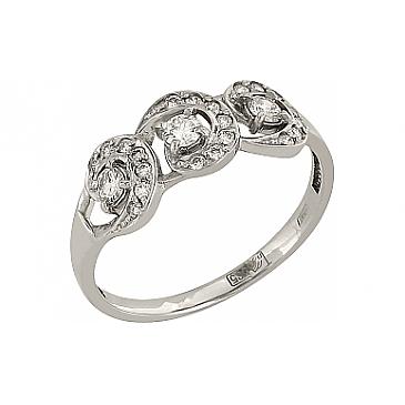 Кольцо с бриллиантом из белого золота 95437