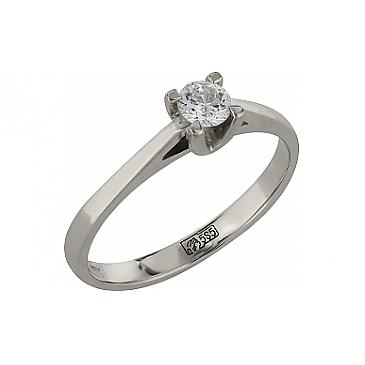 Кольцо с бриллиантом из белого золота 82305