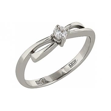 Кольцо с бриллиантом из белого золота 98012