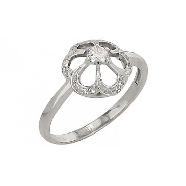 Кольцо с бриллиантом из белого золота 99635