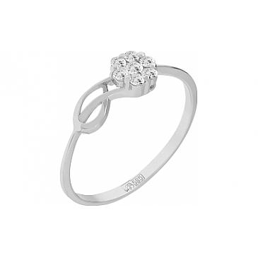 Кольцо с бриллиантом из белого золота 100027