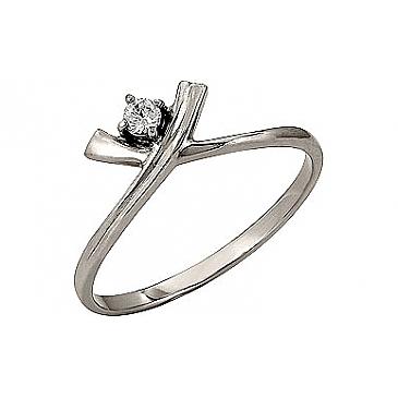 Кольцо с бриллиантом из белого золота 96633