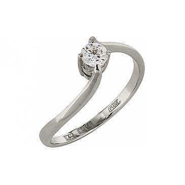 Кольцо с бриллиантом из белого золота 102663
