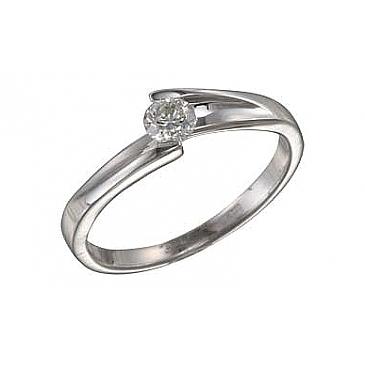 Кольцо с бриллиантом из белого золота 102408