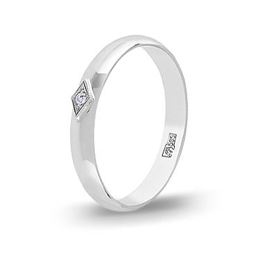Кольцо с бриллиантом обручальное из белого золота 34559