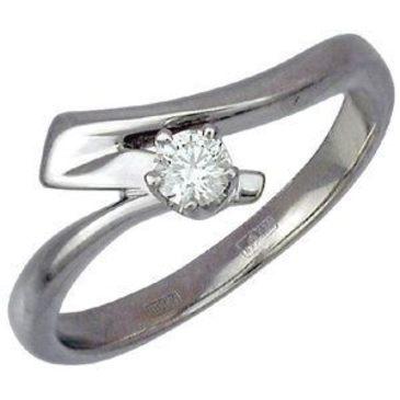 кольцо Соло с бриллиантом 0,15 карата из белого золота 13031087