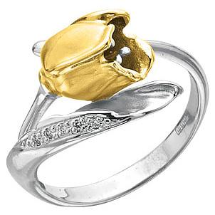 Кольцо Тюльпан с бриллиантами из желтого и из белого золота К-14039