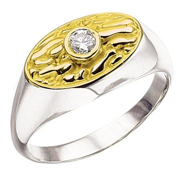 Мужское кольцо 'АНТИК' с бриллиантом из белого золота К-34004