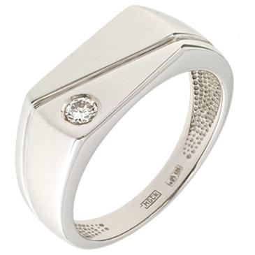 Мужское кольцо c печатка бриллиантом из белого золота 13037691