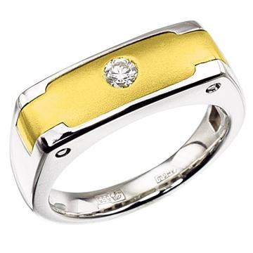 Мужское кольцо 'ГРАНД' с бриллиантом из белого золота К-34003