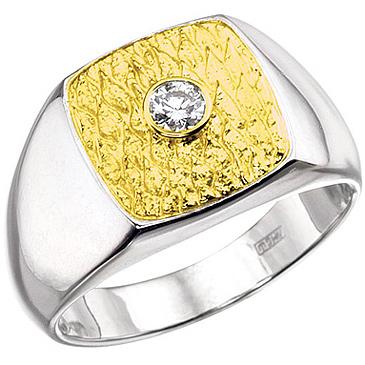 Мужское кольцо ПЕРС из белого золота К-34005