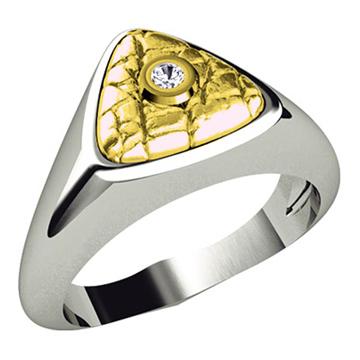 Мужское кольцо 'ТРЕХГРАННИК' с бриллиантом из белого золота К-34007