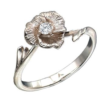Золотое кольцо Аленький цветочек с бриллиантом из белого золота К-12016