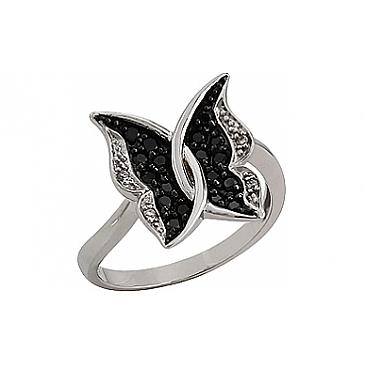 Кольцо Бабочка с чёрными и белыми бриллиантами из белого золота 76333